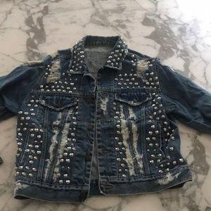 Furst of a kind denim jean jacket distressed